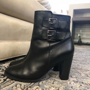 Black bootie with double buckle